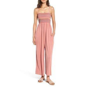 Splendid Smocked Jersey Jumpsuit Blush Pink